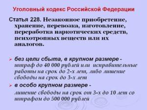 Предусмотрен ли условный срок по статье 228 часть 2