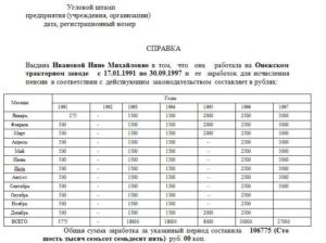 Справка о заработной плате за 5 лет для начисления пенсии бланк