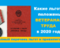 Закон О Ветеранах Труда В Москве В 2020