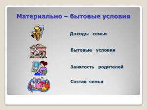 Что такое материальные условия семьи определение
